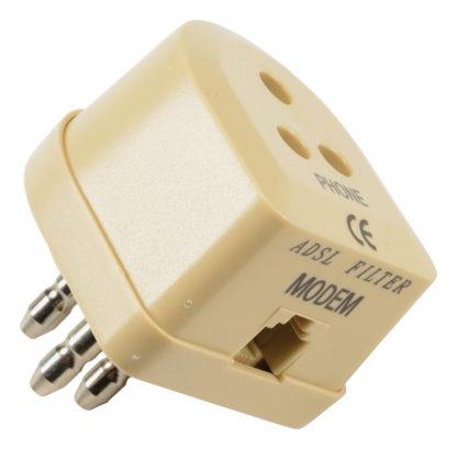 CONFEZIONE 2 Filtro ADSL con spina italiana a 3 contatti e plug RJ11-0