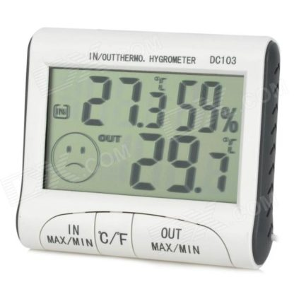"""DC-103 3.0"""" LCD Digital Thermometer & Hygrometer - White + Grey (1 x AAA)-0"""