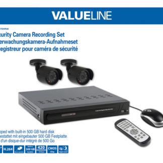 Sistema di sorveglianza con telecamere e videoregistratore con disco rigido integrato da 500 GB-0