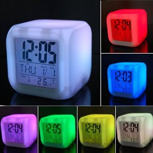 7 LED Color Change Digital Alarm Thermometer Clock New-0