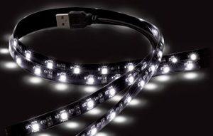 "USB MOOD LIGHT PER TV 2 X 19.7"" / 50CM LED STRIPS - 50 LED BIANCHI. ALIMENTATE DALLA PORTA USB DEL TV-0"