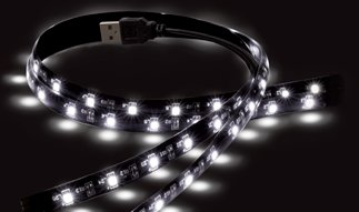 "USB MOOD LIGHT PER TV 2 X 19.7"" / 50CM LED STRIPS - 50 LED BIANCHI. ALIMENTATE DALLA PORTA USB DEL TV-0"