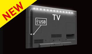 """USB MOOD LIGHT PER TV ONE 35.4 """"/ 90 CENTIMETRI STRISCIA LED CON NASTRO ADESIVO DI 3M. FINO A 65""""/165CM-0"""