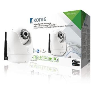 Telecamera IP pan-tilt bianca per interni per la videosorveglianza a distanza-0