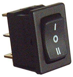 Commutatore a bilanciere nero I-O-II 10A - 250V-0