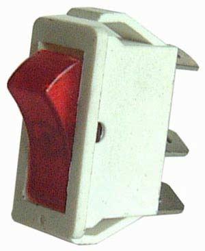 Deviatore a bilanciere unipolare rosso 3P ON-OFF luminoso, 10A - 125V-0