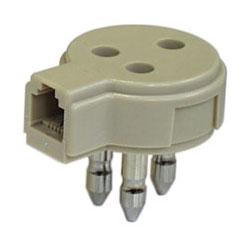 Adattatore Telefonico Spina/Presa 3 Poli + Presa 6P-2C-0