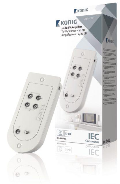 Amplificatore TV da 20 dB con controllo di guadagno e 4 uscite-0