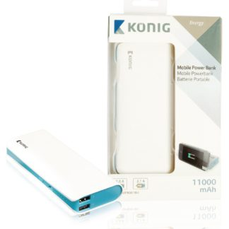 KONIG Power bank 11.000 mAh 1 da 5 V - 2,1 A + 1 da 5 V - 1 A colore blu-0